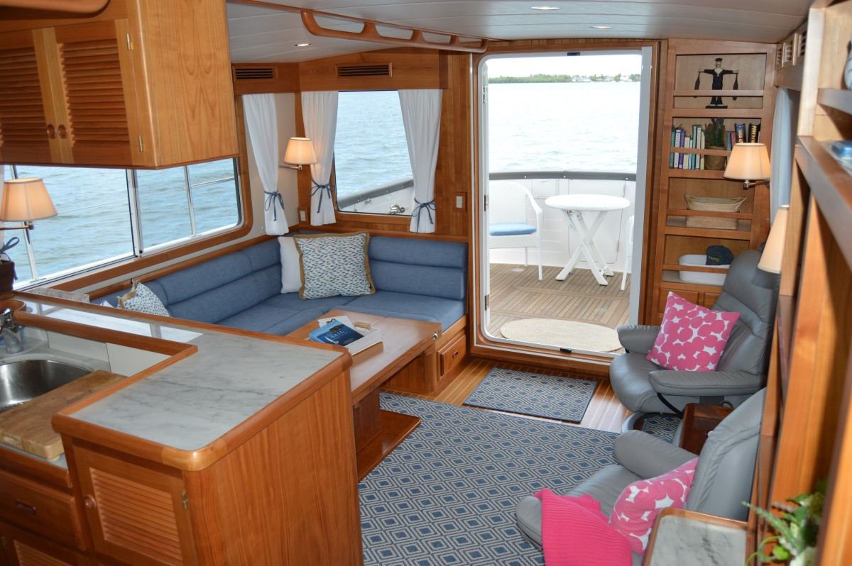 The salon and cockpit of the Krogen Express 52 are two of several inviting onboard living spaces, perfect for relaxation or entertaining guests.