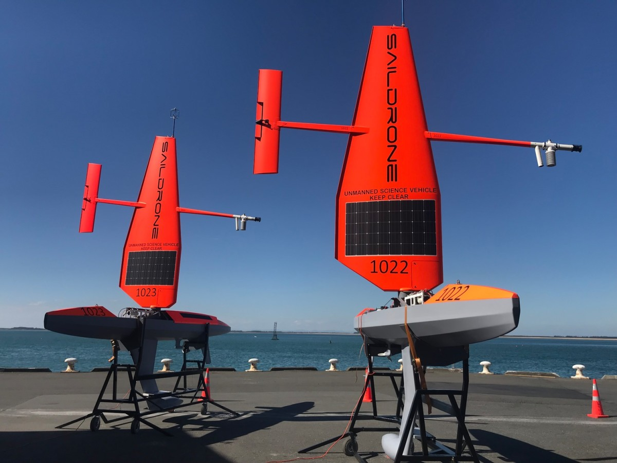 SD 1022 and SD 1023 with the standard Saildrone wing in Point Bluff, New Zealand, January 2019.