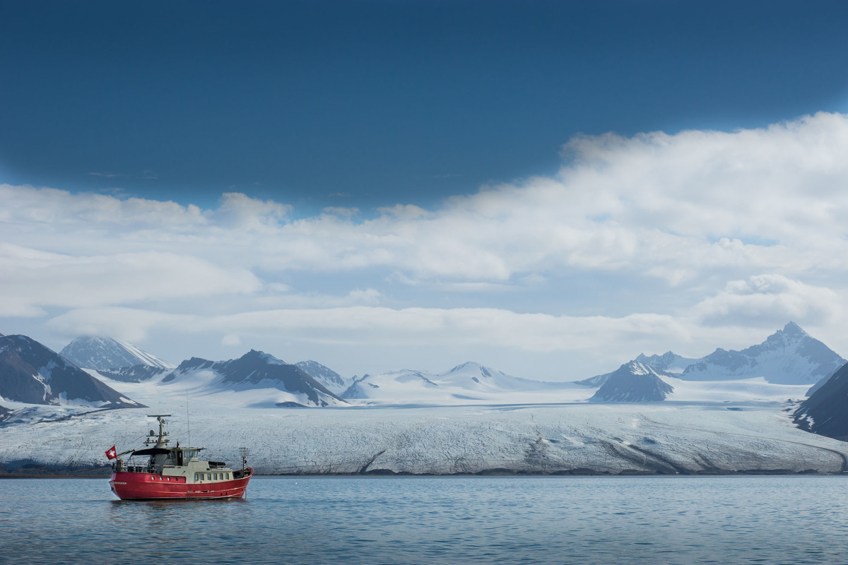 Facing up to the ice, San Gottardo undefinedrests at anchor off Svalbard, Norway.