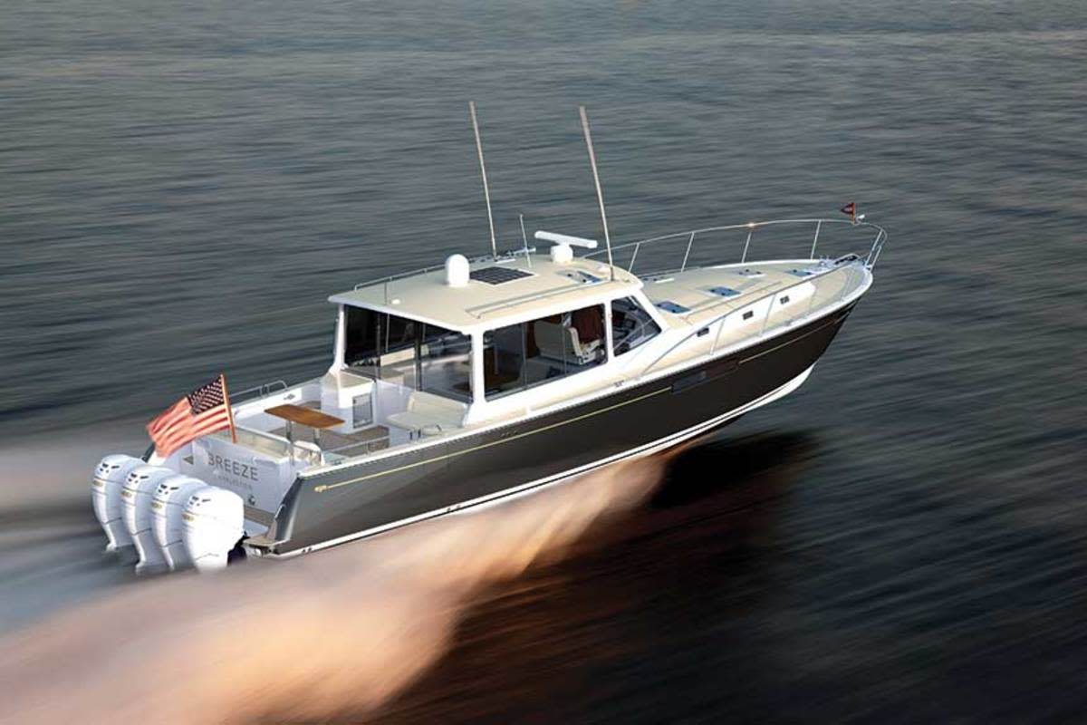 The Zurn-designed MJM 53z, the builder's largest boat to date, was launched earlier this summer. (Doug Zurn)