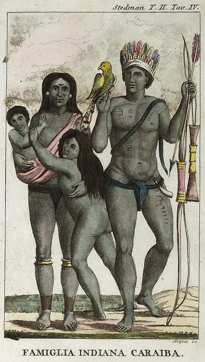 An early depiction of Carib Indians.