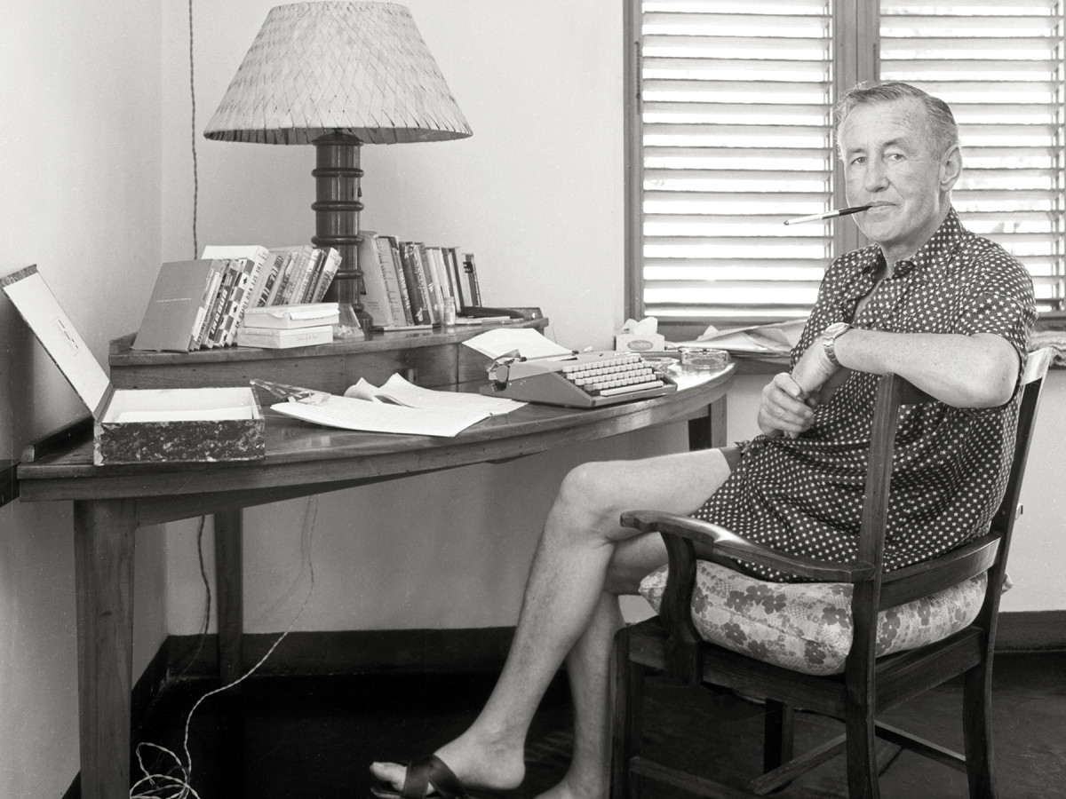 Ian Fleming at the desk where he wrote James Bond novels.