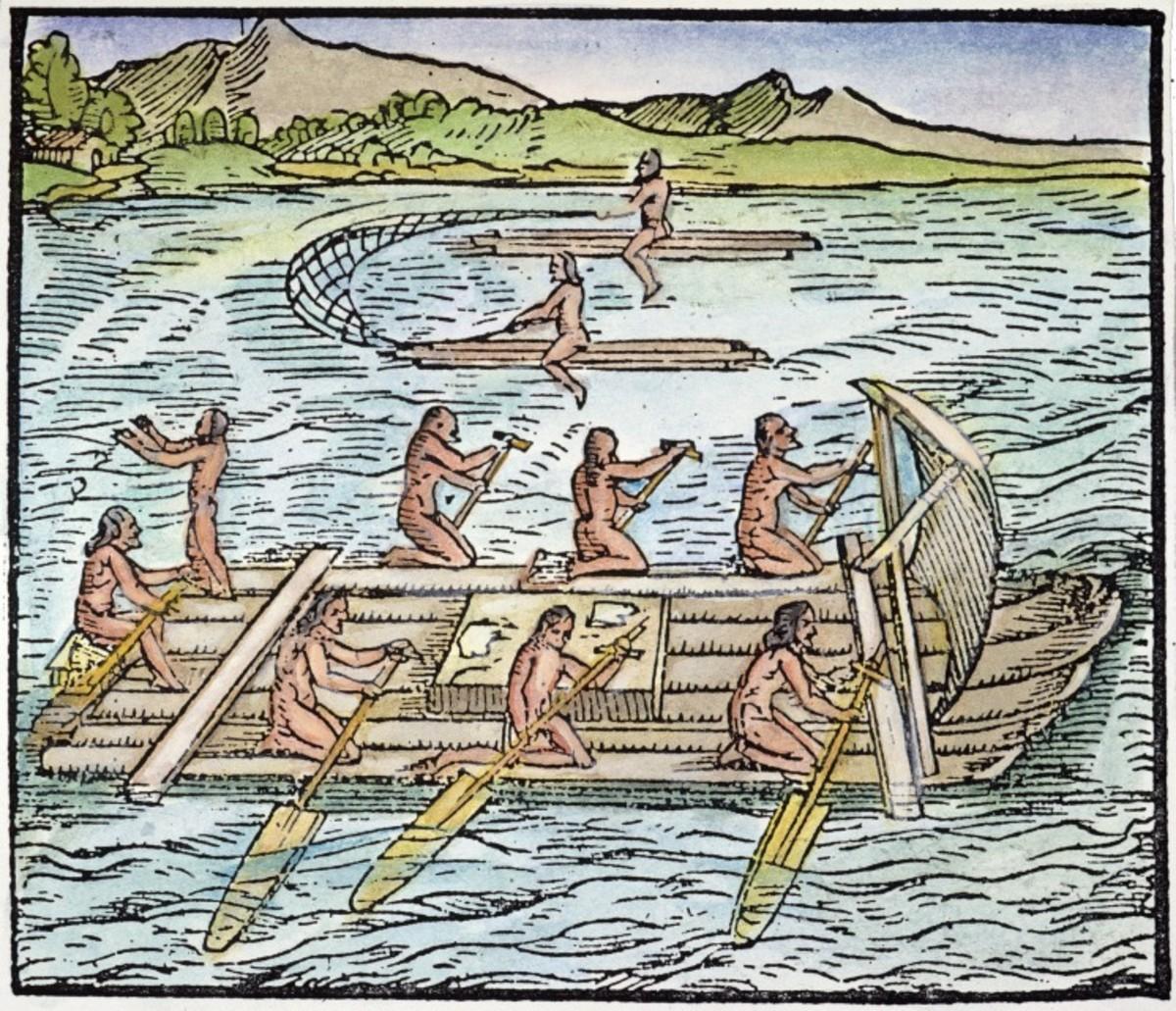 Tainos go boating.