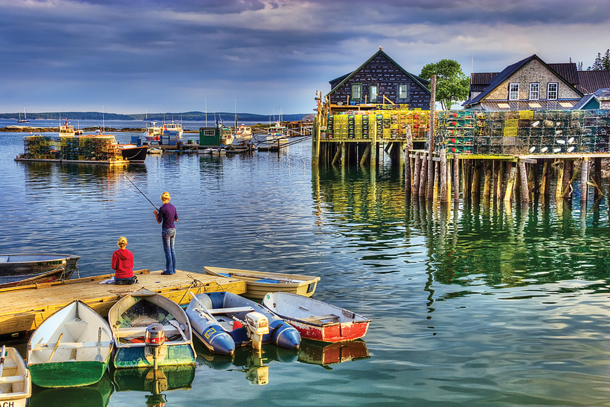 Fishing off the dinghy dock at Bass Harbor.