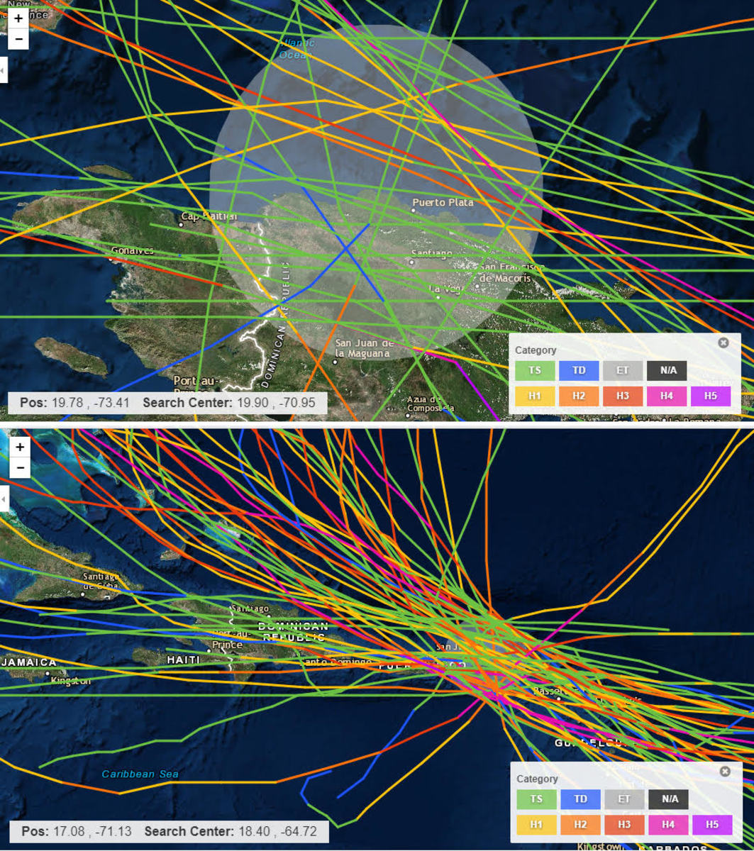 These are all the storm tracks in the Southwest North Atlantic since tracking began in 1851. Luperon is dead center of the circled area in the top image. No hurricanes have hit Luperon since tracking began. The few direct hits have all been tropical storms, which are represented by green lines.