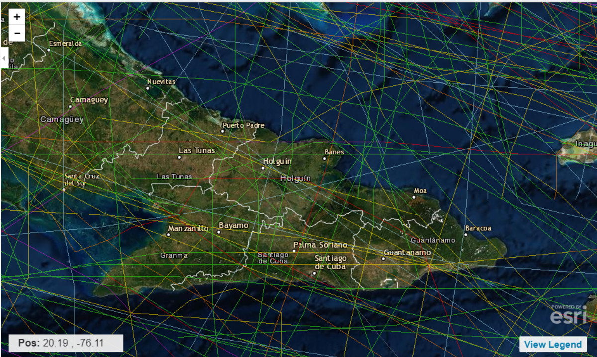 LESS SPAGHETTI: The eastern section of Cuba's North Coast shows relatively few storms and those storms that have hit are tropical storms, not hurricane strength, as indicated by the color coding system. This area happens to have a number of harbors, suggesting that someday, when politics cease to be an impediment, this might be a good area to spend during hurricane season.