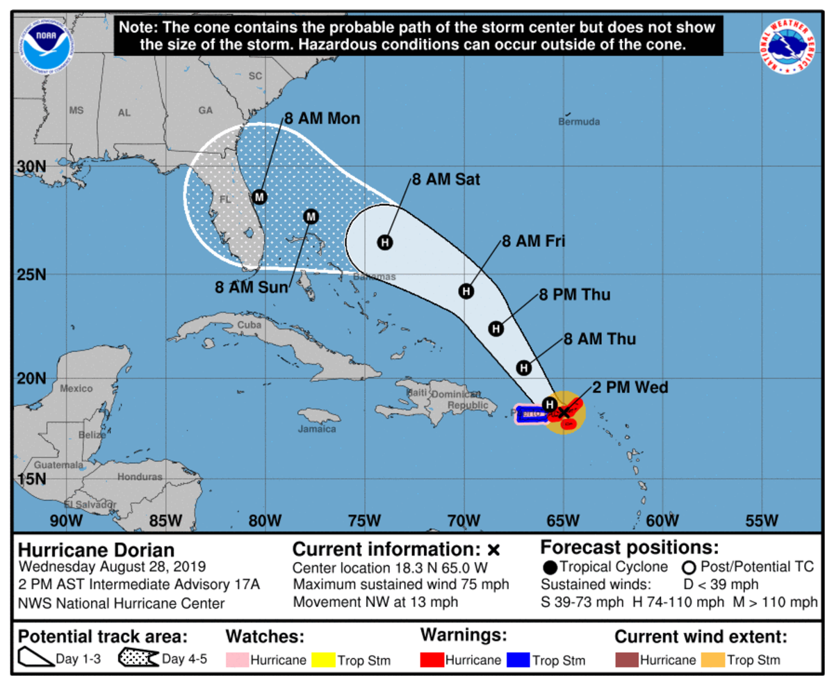 Hurricane Dorian cone Wednesday