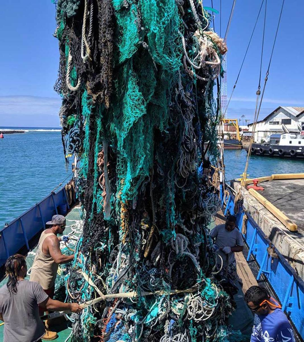 The Ocean Voyages Institute removed these derelict fishing nets from the Great Pacific Garbage Patch.