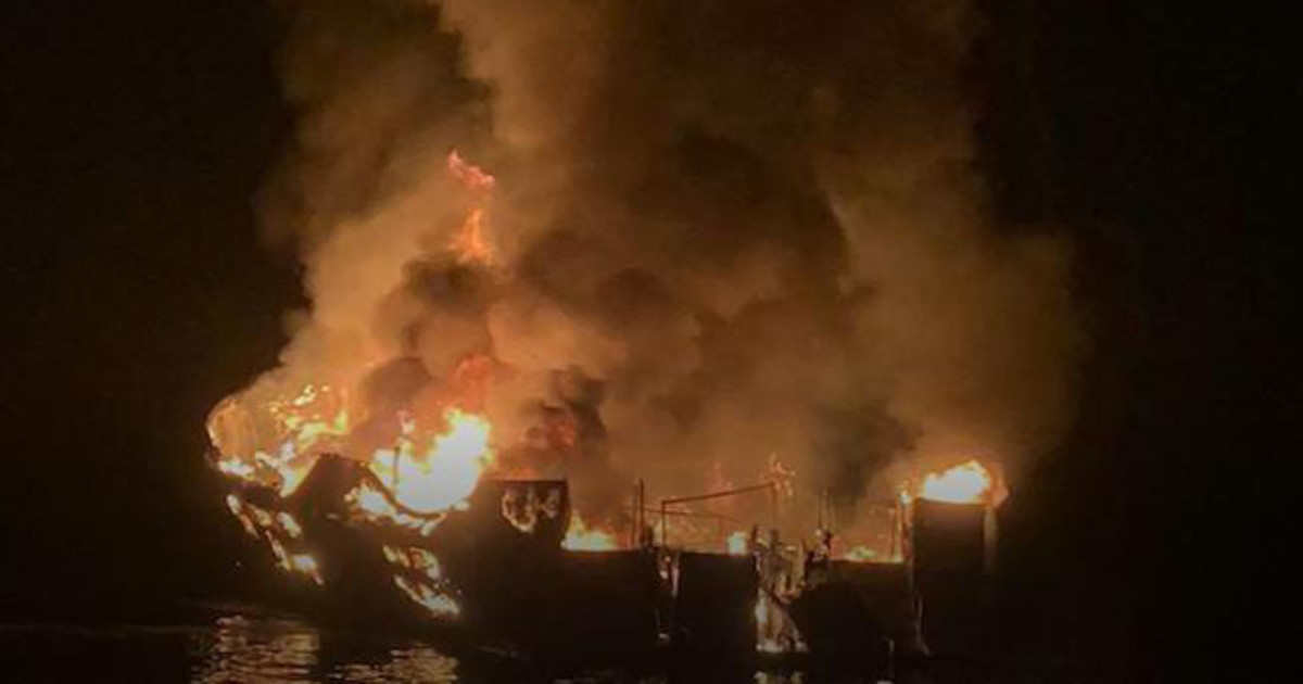 The Associated Press: A middle-of-the-night fire swept a boat carrying recreational scuba divers anchored near an island off the Southern California coast early Monday, leaving at least 25 dead and nine others missing. Coast Guard Lt. Cmdr Matthew Kroll said Monday night that 25 people had died. Five of six crew members on the Conception escaped by jumping into an inflatable boat they steered to a nearby vessel.