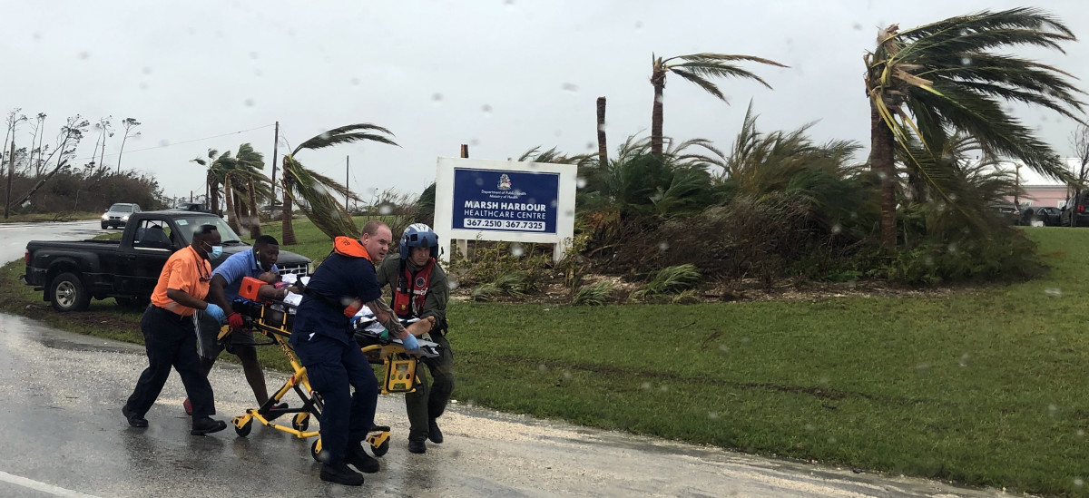 Coast Guard aircrew help medivac a Bahamian from Great Abaco.
