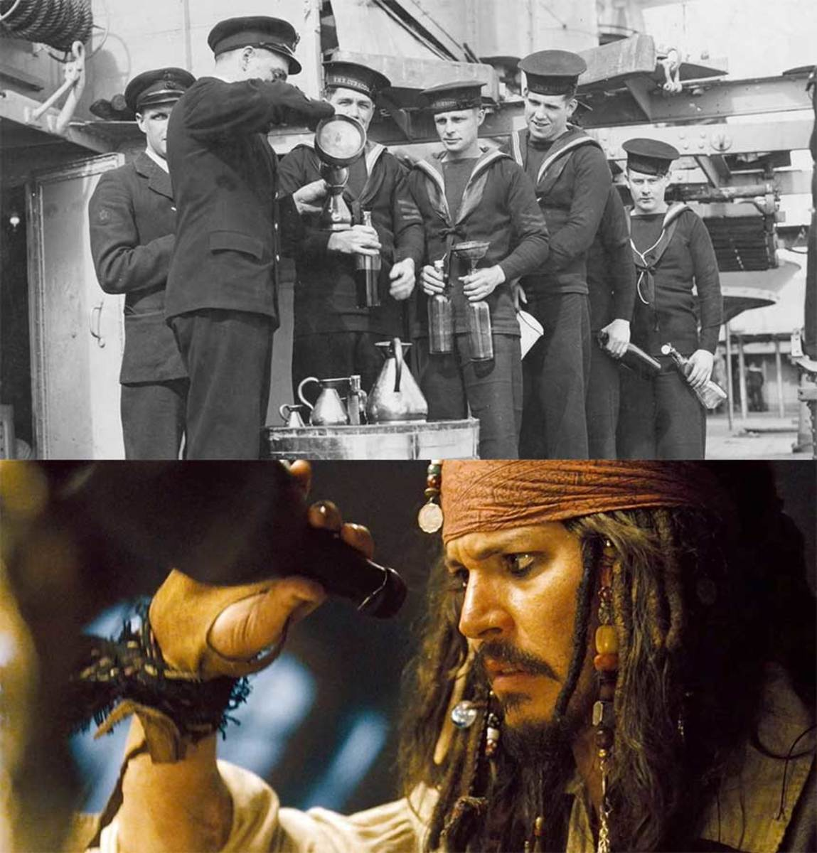 While fictional pirates like Johnny Depp's Capt. Jack Sparrow (bottom image) are the seafarers most often associated with rum, it was really the British Royal Navy's daily tot ritual that made rum the sailors' drink.