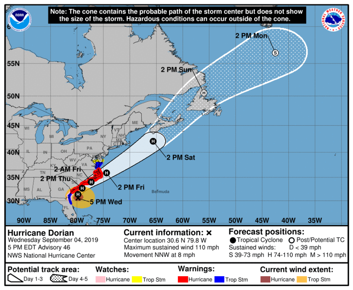 """We have some disagreements with this,"" Parker said. ""We at Marine Weather Center are just not sure when Dorian is going to take that northeastern turn. We think Dorian is going to get a lot closer to than indicated here. And that would make a landfall of the northern eye wall in the Charleston area. It would be really similar to what Hurricane Matthew did, and we think Dorian could inflict the same sort of damage or potentially greater damage."""