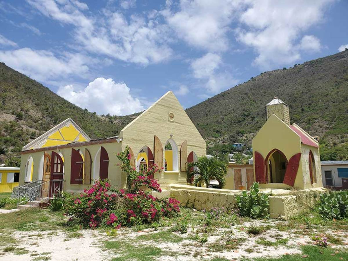 Unlike the bars, this cute little church on Jost Van Dyke still awaits reconstruction