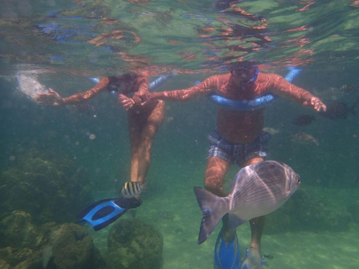 Lin and Rus snorkeling at Mermaid Reef.