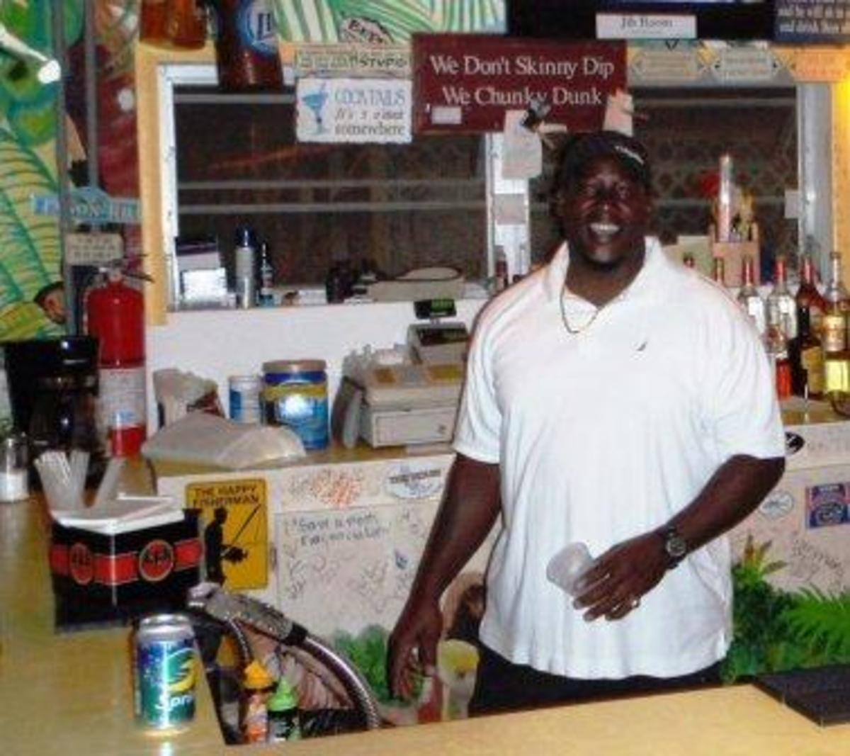 Jason Davis the dockmaster in better days who helped us protect Mud Puddle Rose as best as possible. This bar no longer exists.
