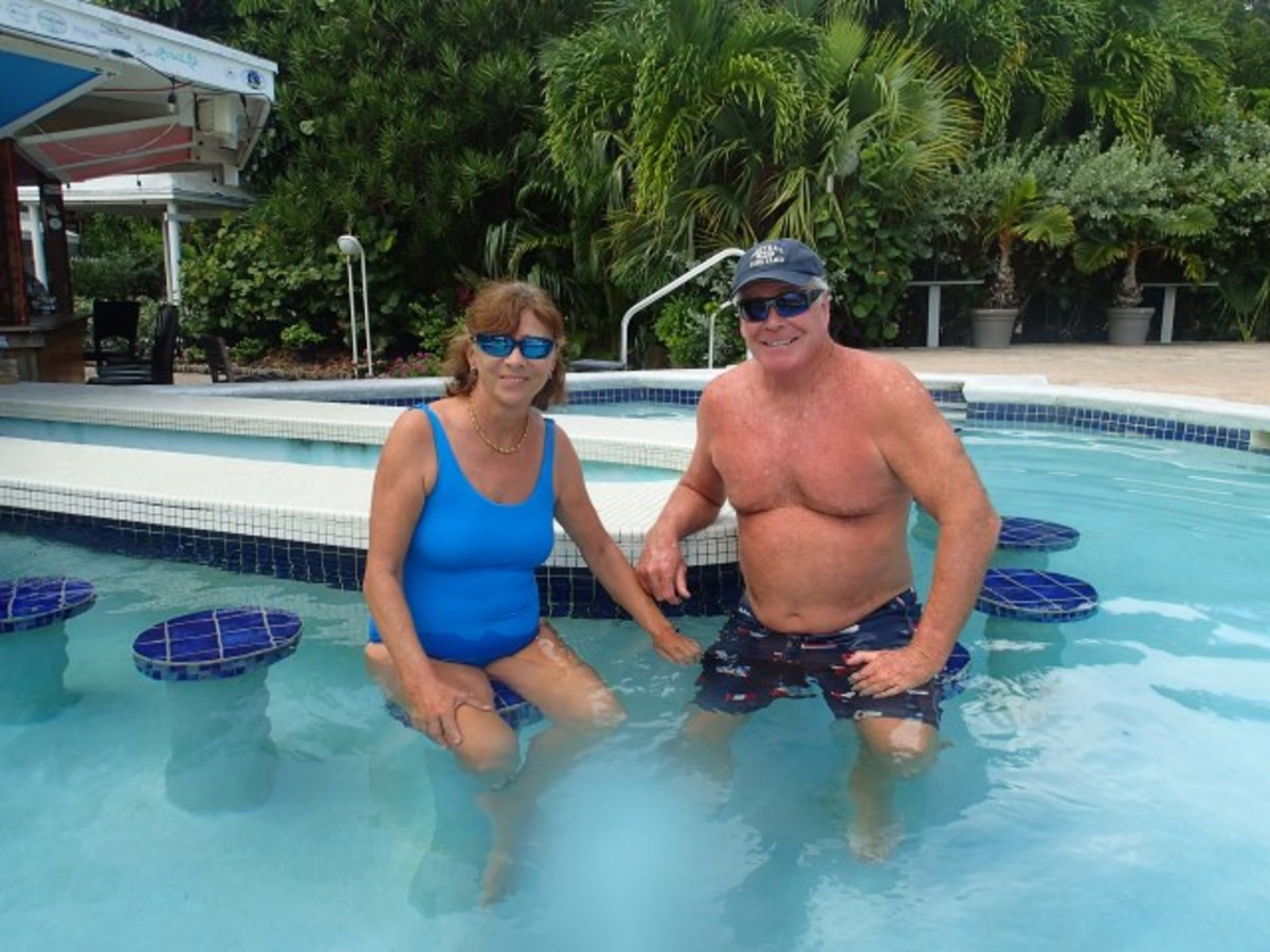 Sandra and I at the poolside before Dorian.