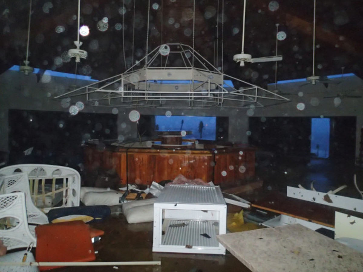 Third floor pavilion room destroyed by winds of more than 190 mph. The windows blown out and the roof was going.