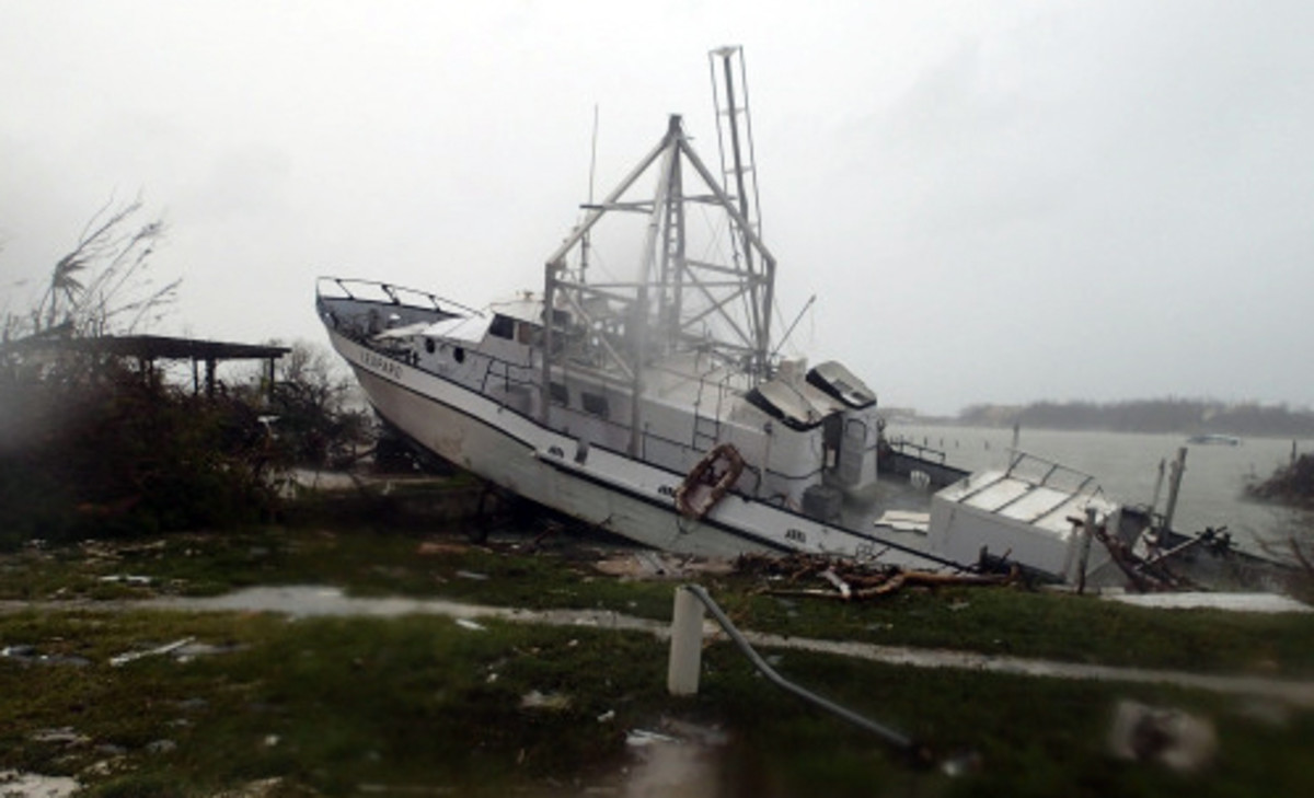 A commercial Fishing boat, Leopard broke from her oversized commercial mooring she had used in all previous hurricanes.