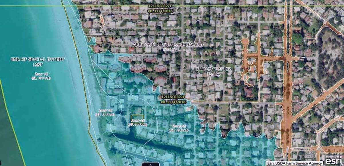 A current flood map of Venice, Florida.