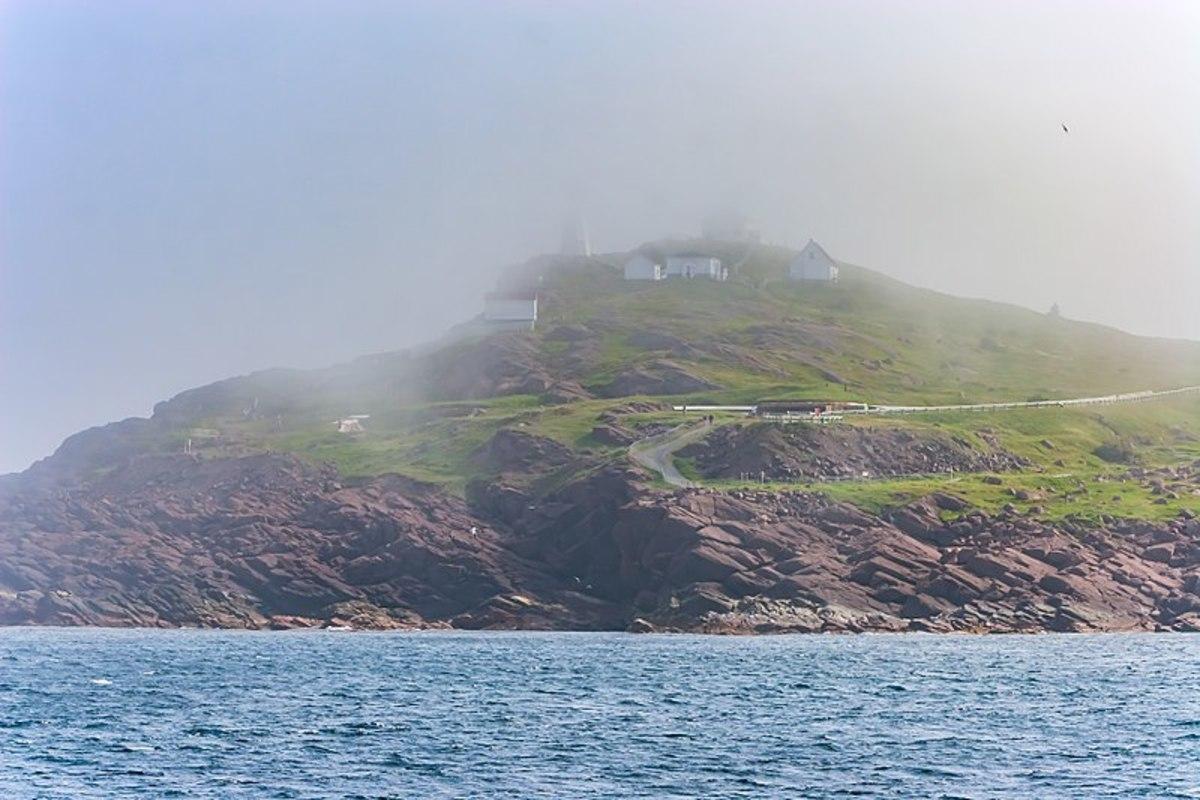 Fog descends on Cape Spear, Newfoundland.