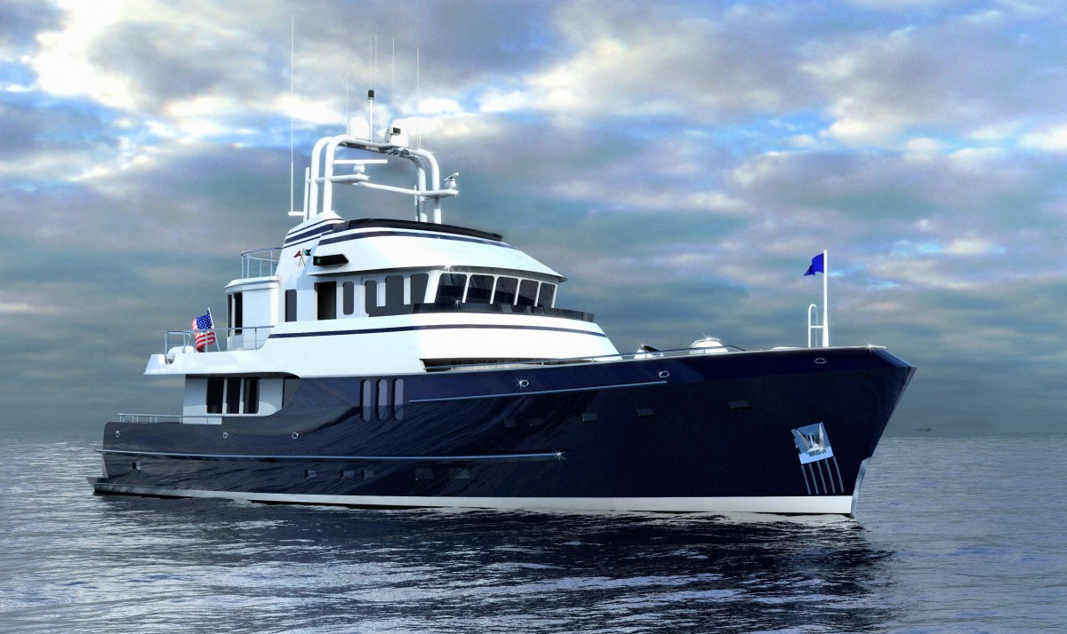 This Seaton 83 is one of nine Seaton designs that could be built to high workboat standards at Gladding-Hearn in Somerset, Mass. That would drop $1 million from the price of the same model built to yacht standards.