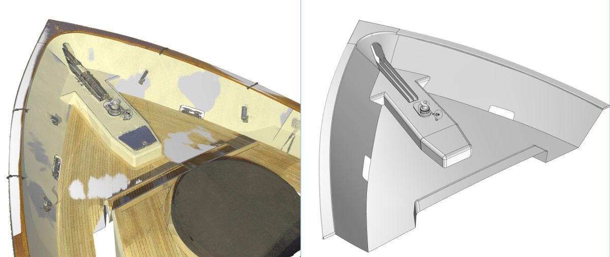 In this case the Newport Yacht Collaborative needed to create an accurate 3D surface model using its ultra precise scanning technology. These images show the scanned point cloud (color) and the 3D model built from it (grey). Ezra Smith says one of the exciting things about this process is it allows him to design and build very accurately even if the vessel is thousands of miles away.