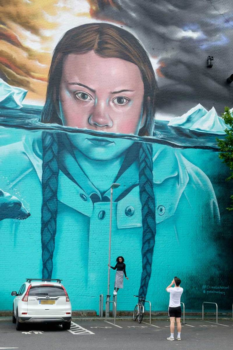 Mural of climate change activist Greta Thunberg in Bristol, England, painted over eight days by Jody Thomas. The mural is nearly 50 feet high, one of the largest in Bristol.