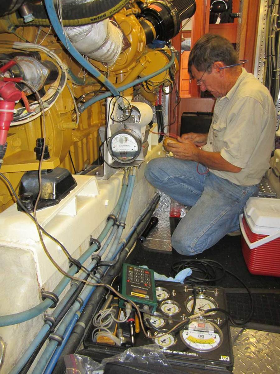 One of the best in the business, Tim Caruso of Marine Diesel Analysts has connected his test gauges and is completing the prestart inspection as he puts a pair of CATs through the paces.