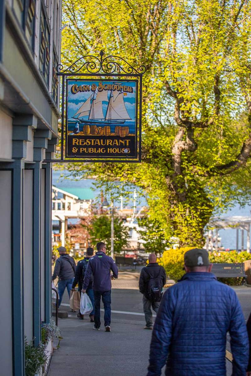 The crew descends upon quaint Friday Harbor, San Juan Island