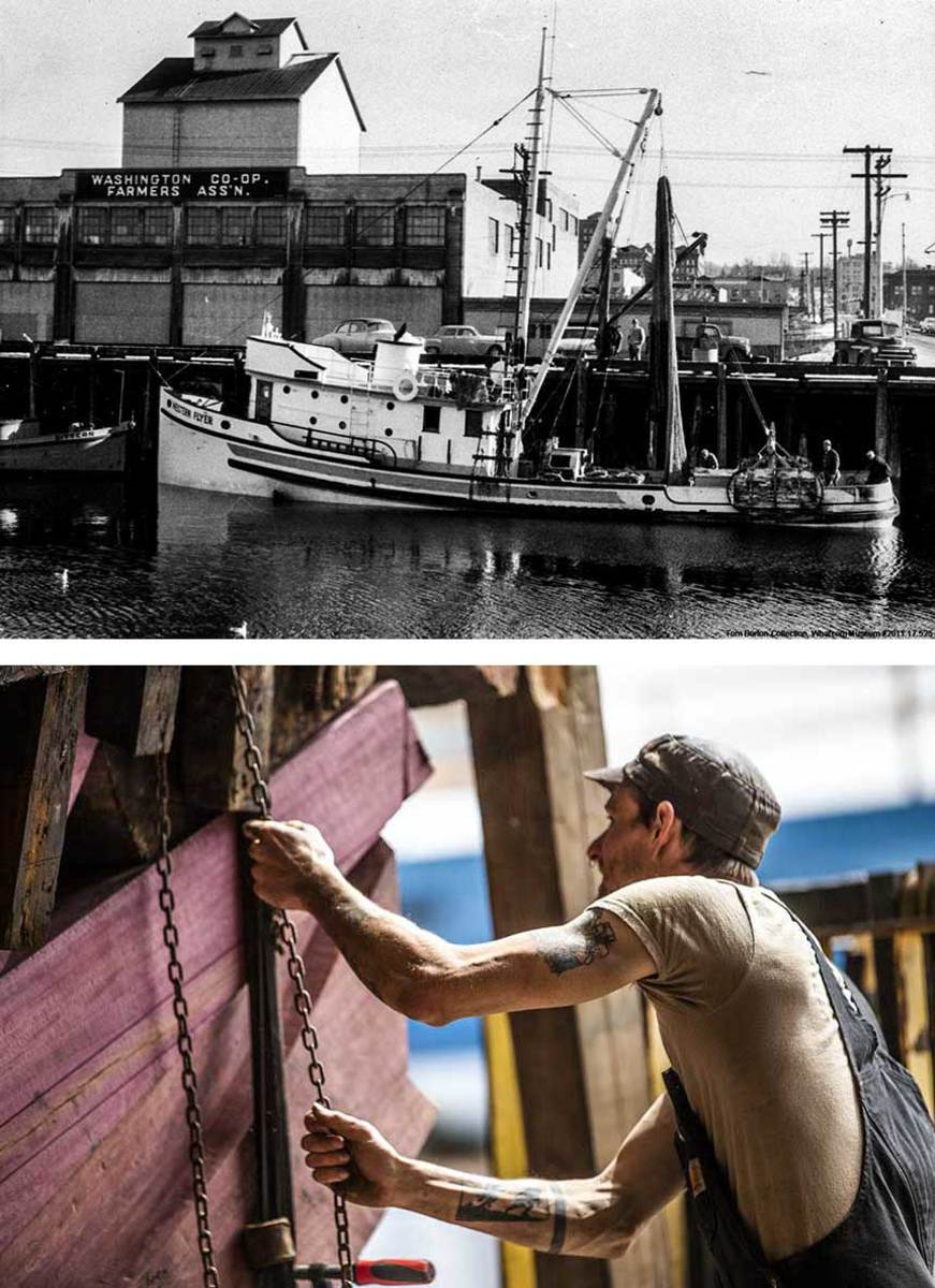 After being retrieved from the bottom of the Swinomish Channel, the Western Flyer found a home at Port Townsend Shipwrights Co-Op (top), where a dedicated crew, including Peter Stein (bottom), works to painstakingly to recreate the vessel as she was in 1940.