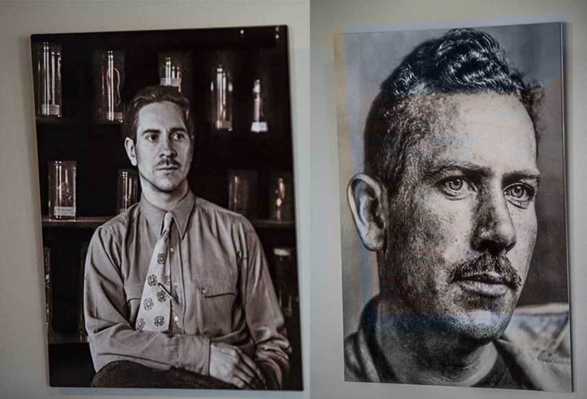 Portraits of Steinbeck (left) and Ricketts on display in the Western Flyer Foundation office in Port Townsend.