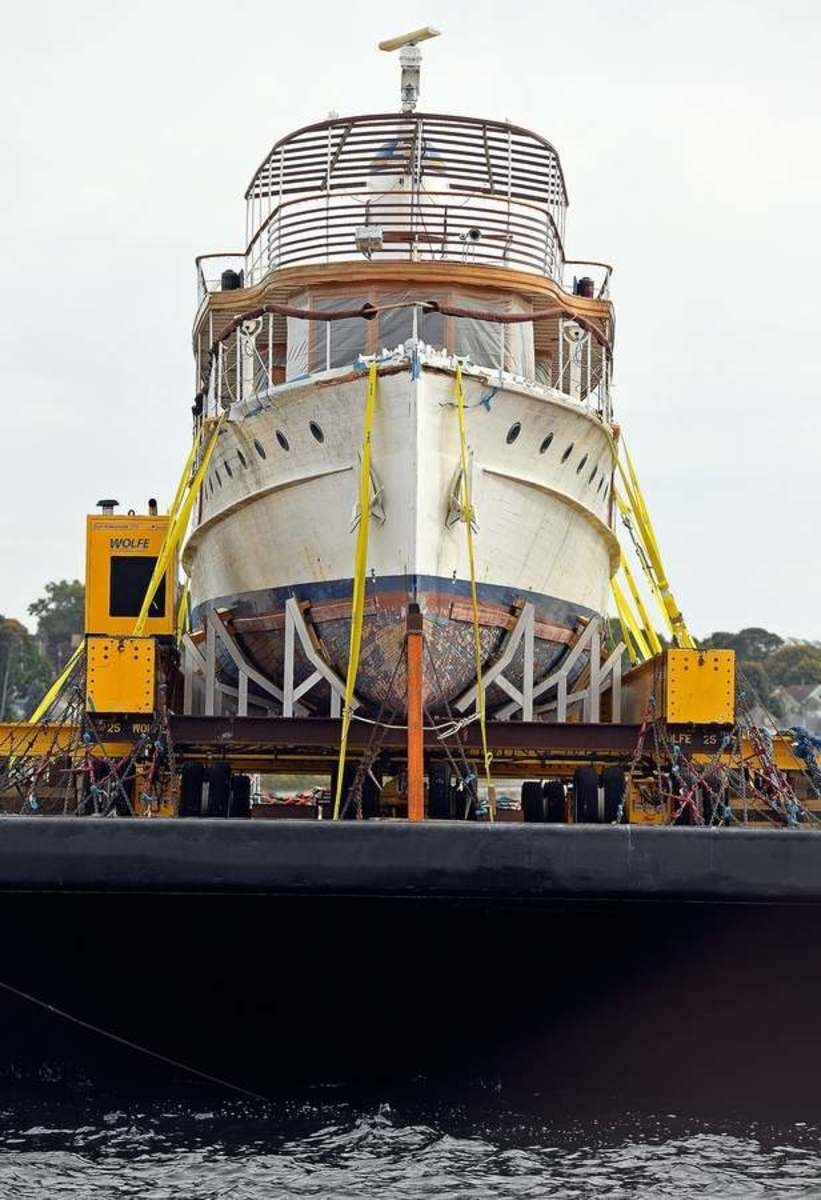 The 104-foot yacht is en route to Belfast, Maine, for a full restoration. (Photo by Sean D. Elliott/The Day)