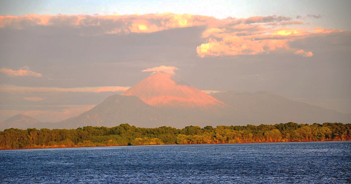 the magnificent and active Masaya Volcano is visible from the El Transito anchorage in Nicaragua.