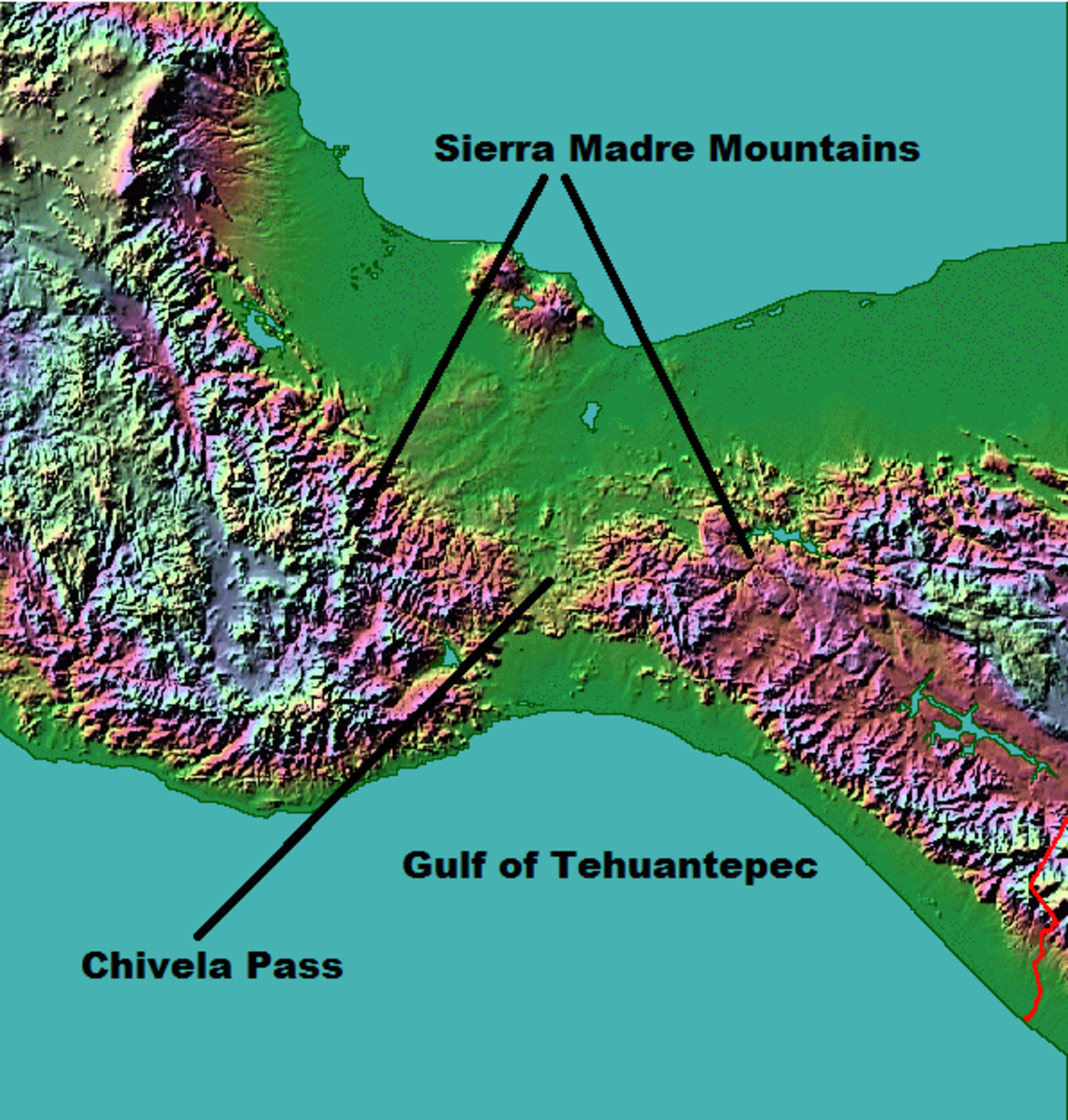 Winds piling onto the Gulf of Mexico side intensify when forced through the narrow Chivela Pass, creating gale force winds on the Gulf of Tehuantepec.