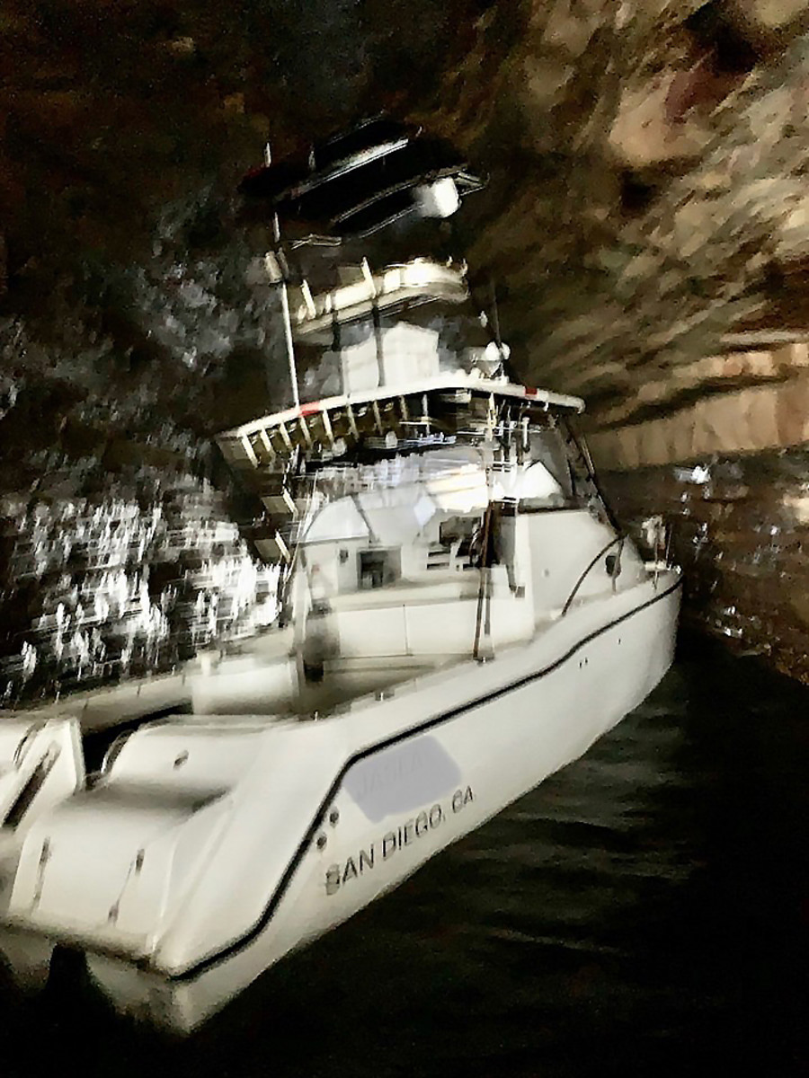 A recreational fishing boat accidentally ends up deep inside a Southern California cave and provides a lesson or two for all boat owners. (Photo by TowBoatUS-San Diego)