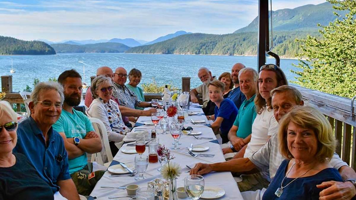 Charters can be family affairs with just one or two other people, or they can be flotillas with other boats and the option of group meals ashore, such as the one shown here at the Laughing Oyster Restaurant in British Columbia.