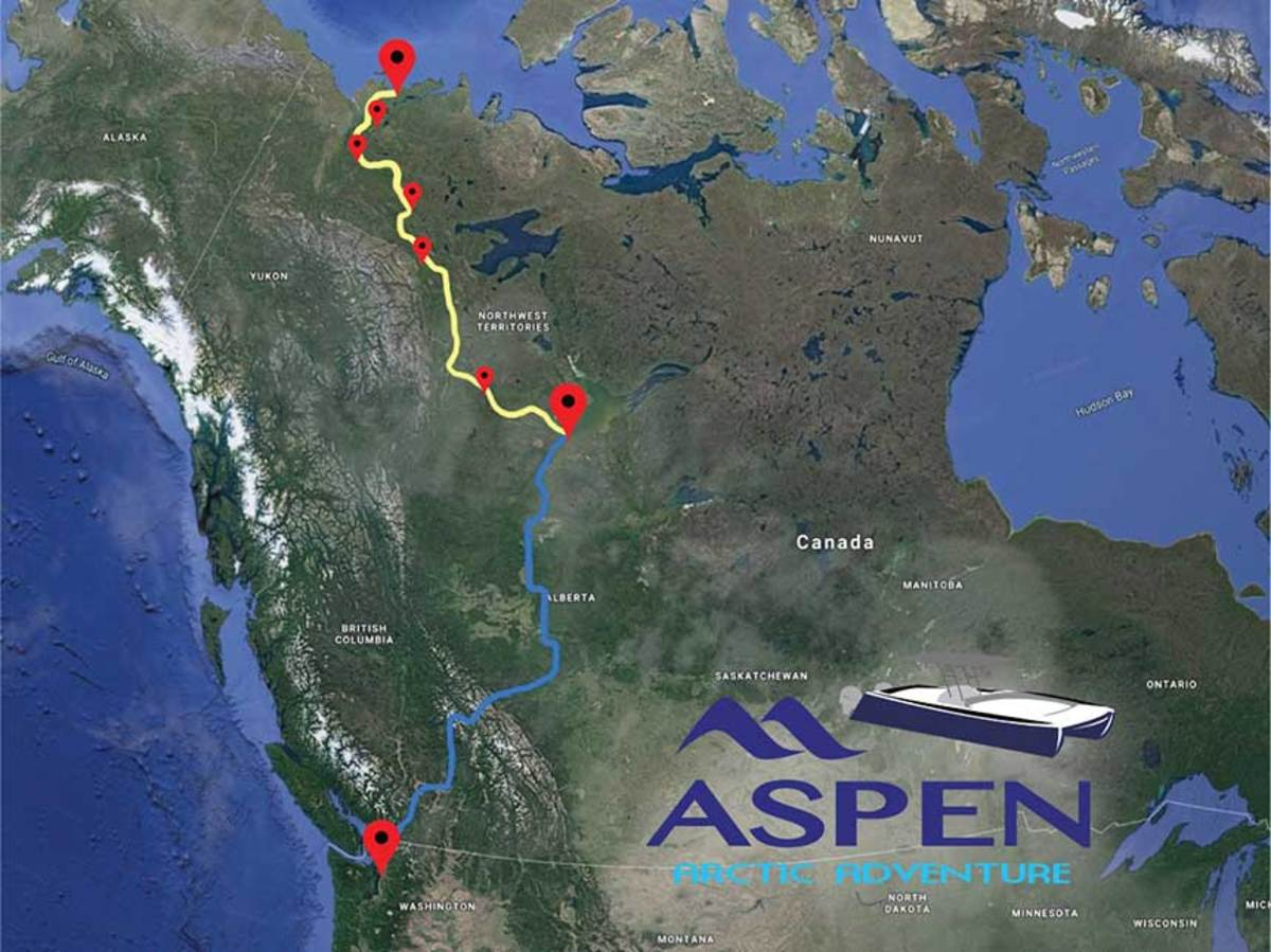 The Aspen C107's road-to-river route from Washington State to the Arctic (road route in blue, river route in yellow).