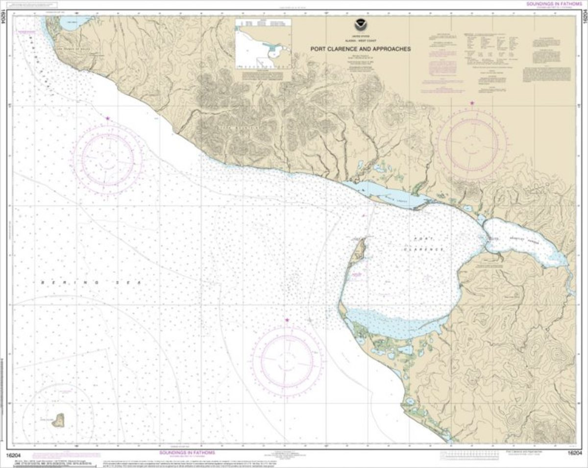 Traditional 1:100,000 scale NOAA paper nautical chart 16204.