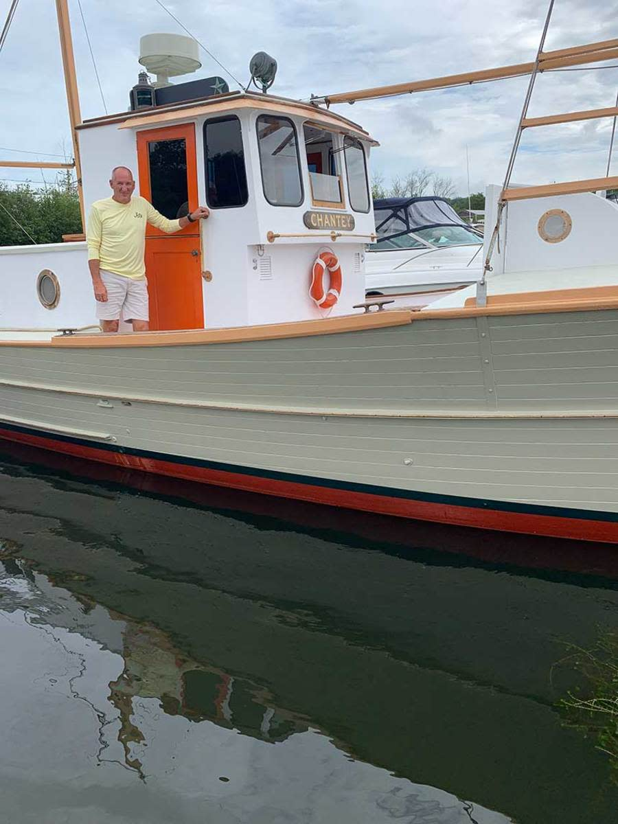 Mark Grady aboard Chantey just after launch.