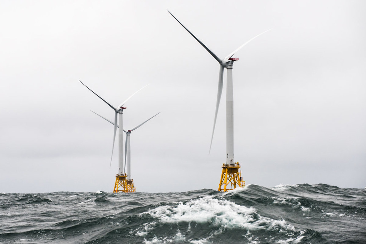 Wind turbines in service off Block Island, which is off Long Island, New York, but part of Rhode Island.