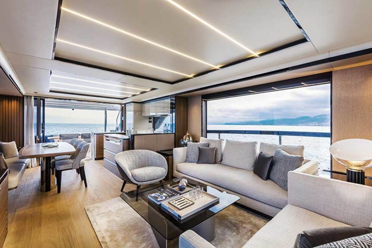 Absolute's consideration of light and space in the Navetta 68's design is evident in the salon.