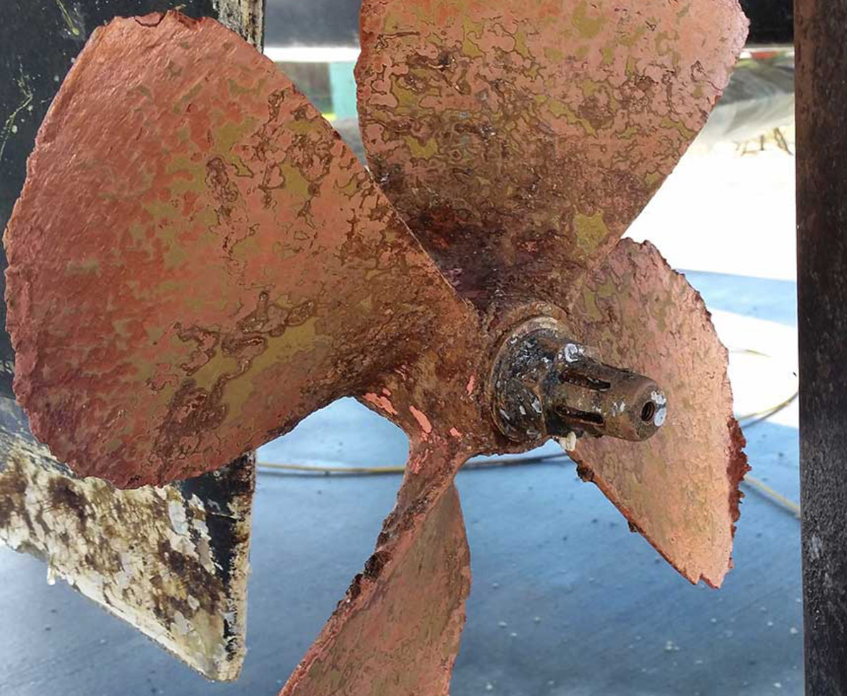 If you see pink spots or blotches, you have a corrosion problem that must be identified. The pink areas on the prop demonstrate a severe case of corrosion and weakening.