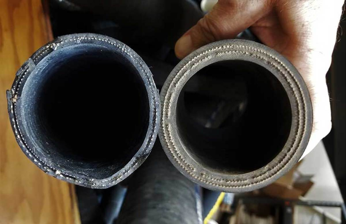Shaft seal hoses should be inspected closely while the boat is out of the water. Look for cracks and feel for crunchiness while squeezing the hose. The hose below on the left has started to delaminate. Notice that a special double-reinforced hose is required for stuffing boxes.