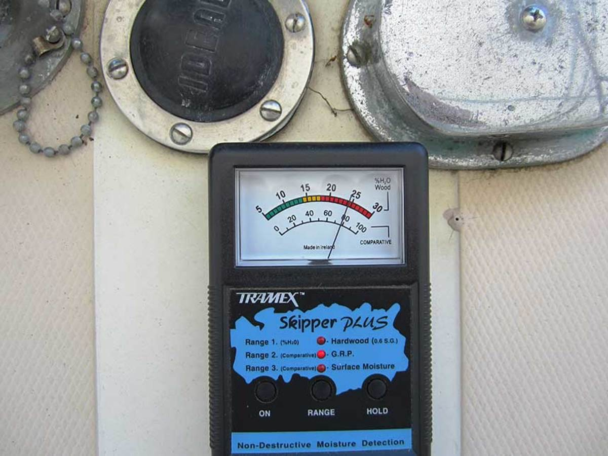 Check the deck, cabin, hull sides and bottom with a moisture meter every few years. This windlass hardware has been allowing water into the core and should be removed and re-bedded, along with other hardware.