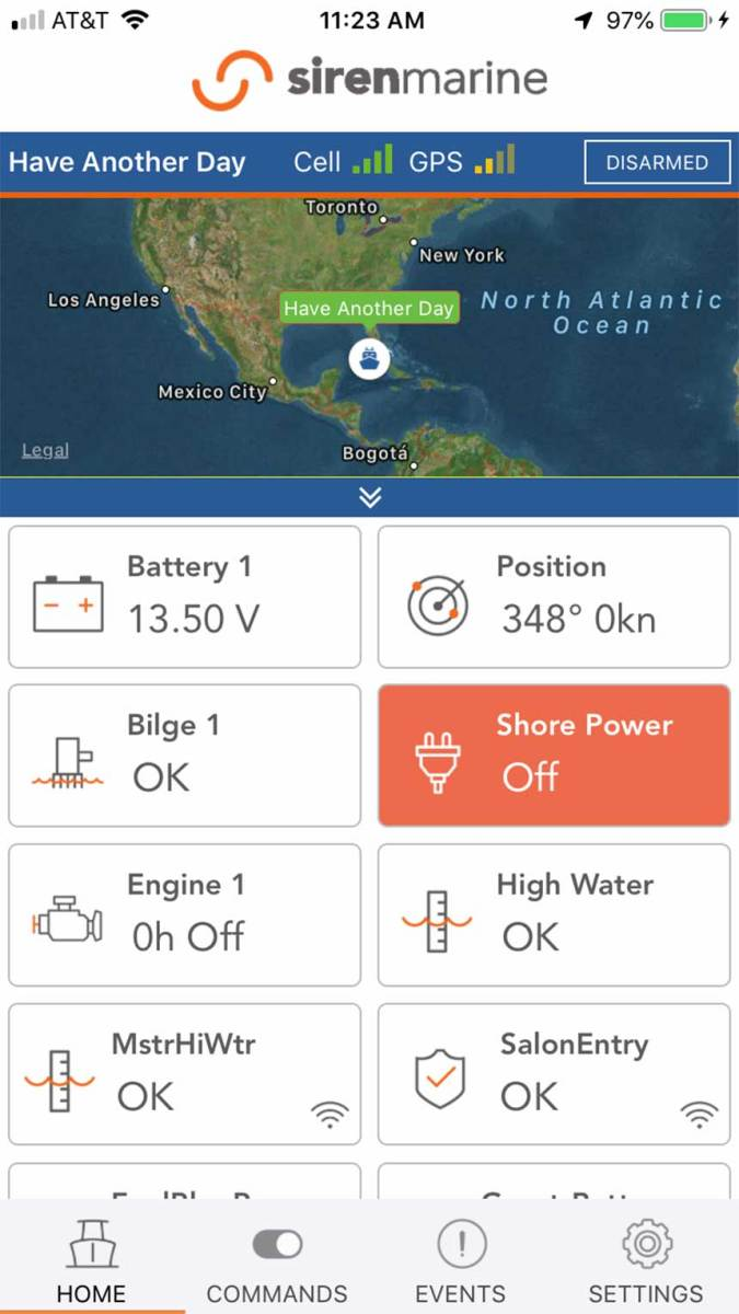 The author's Siren Marine remote monitoring app.