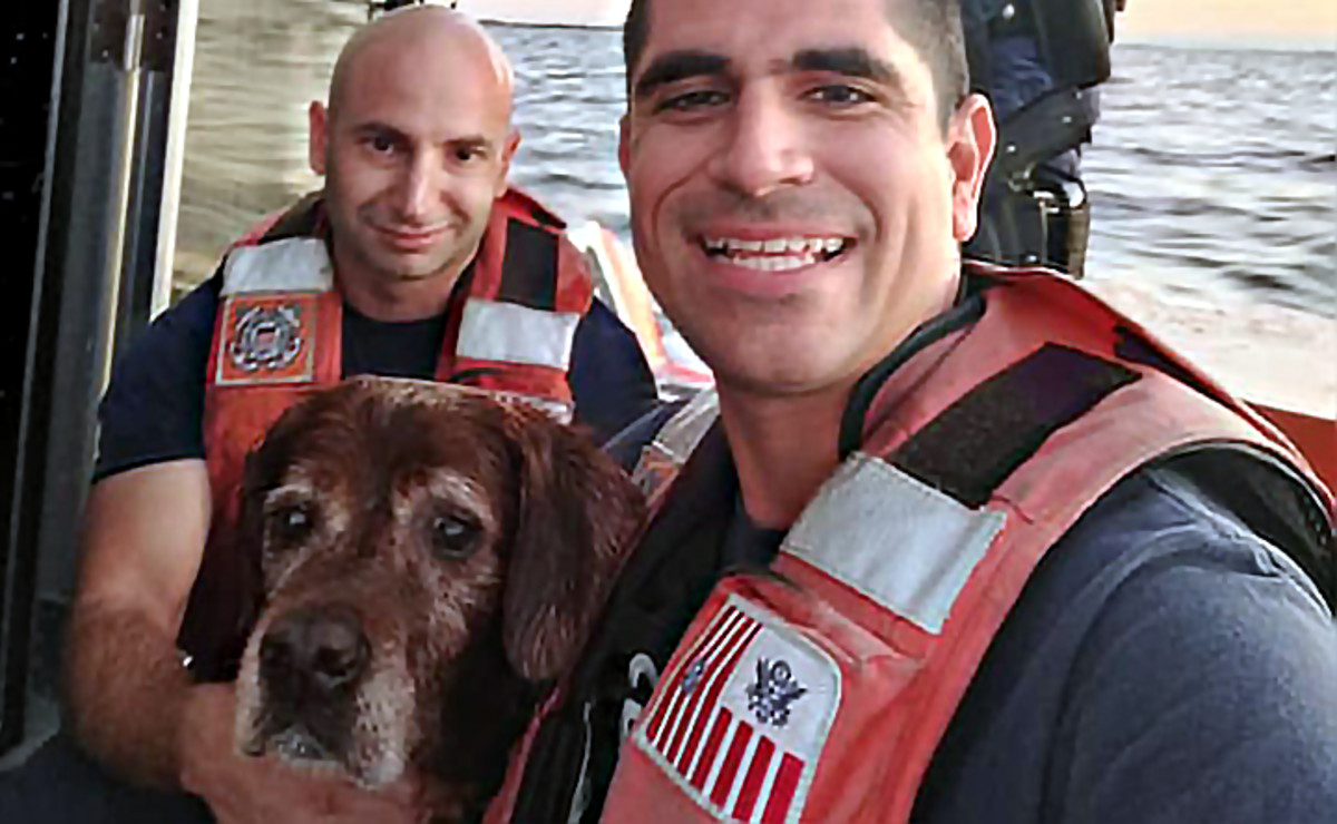 Rescuers pose with their new best friend.
