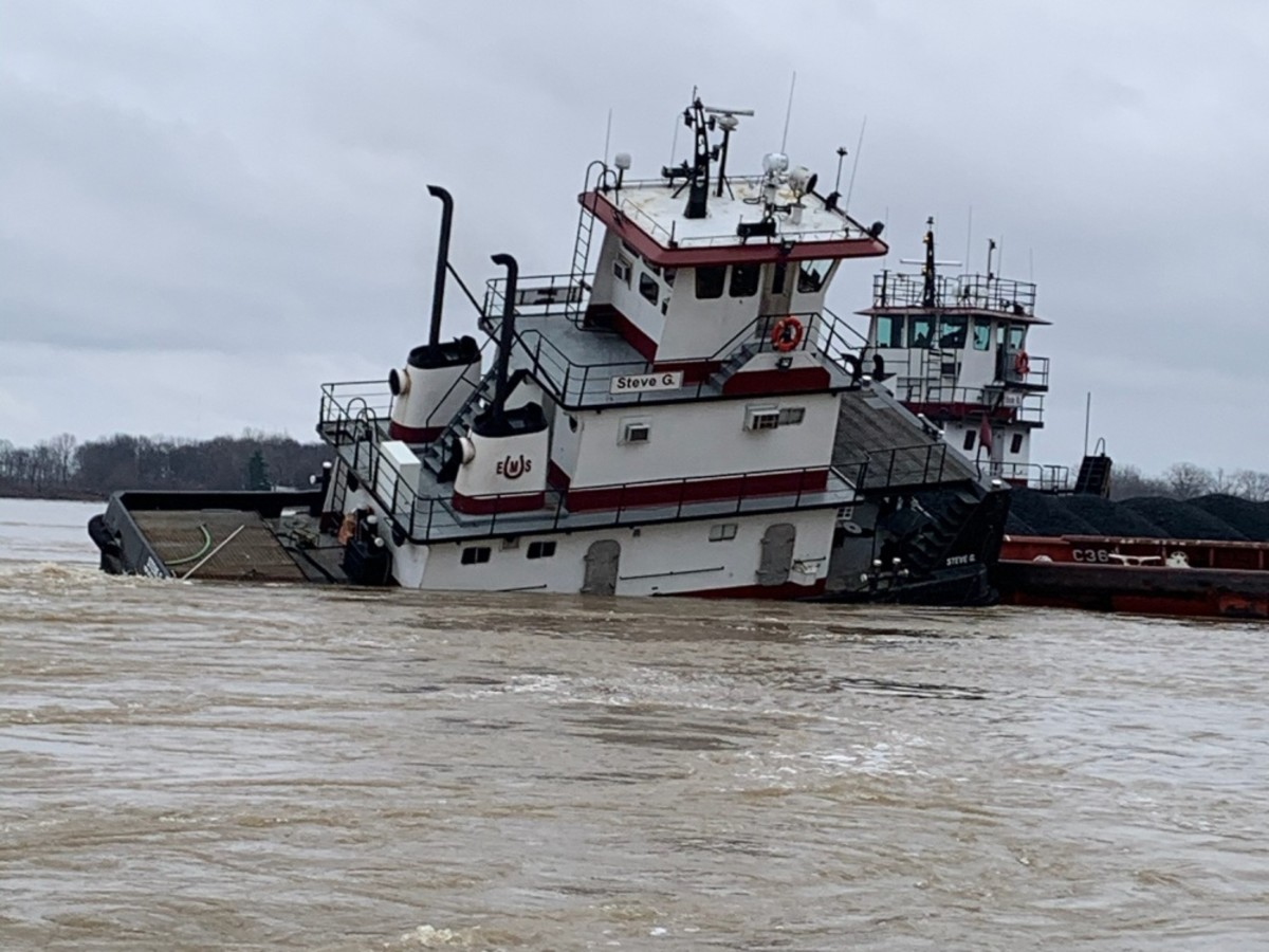 The inspected towing vessel, STEVE G, lists due to strong currents on the Ohio River near West Franklin, Indiana, January 12, 2020. The vessel's watertight integrity prevented it from capsizing or sinking. (U.S. Coast Guard courtesy photo)