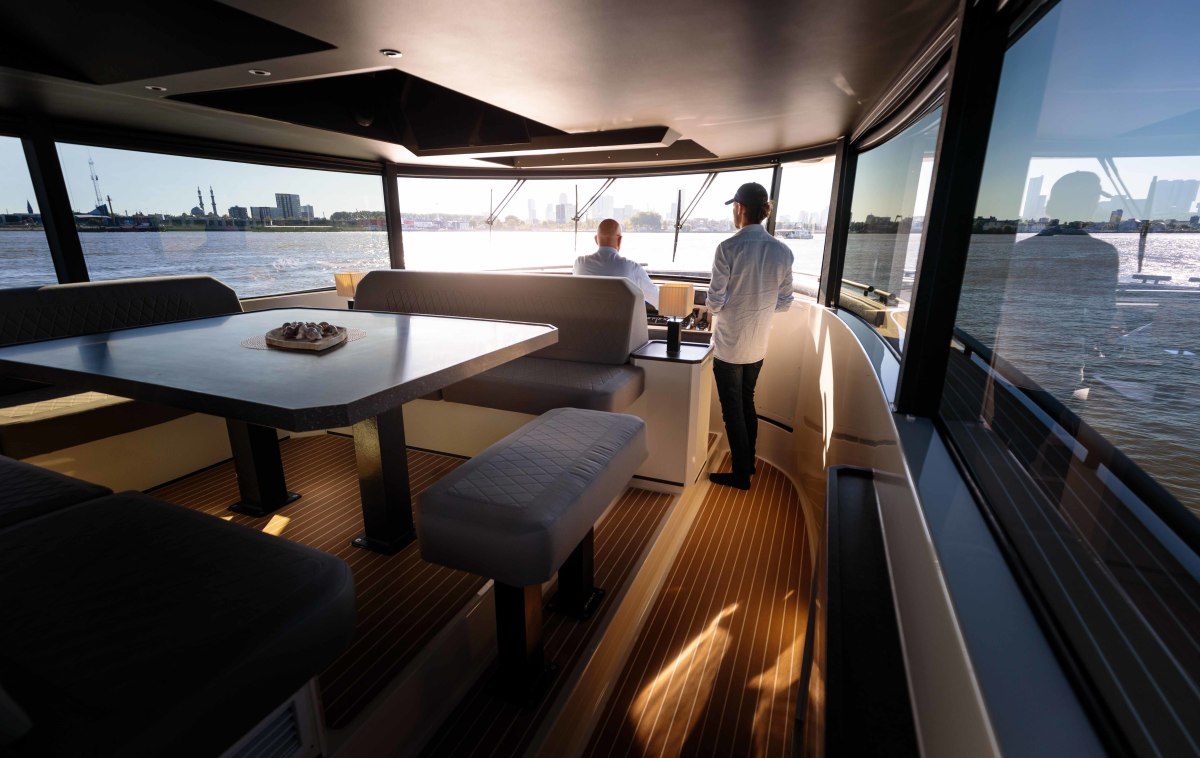 Seating for large parties and generous vertical glazing speak to the DutchCraft 56's open-layout concept.
