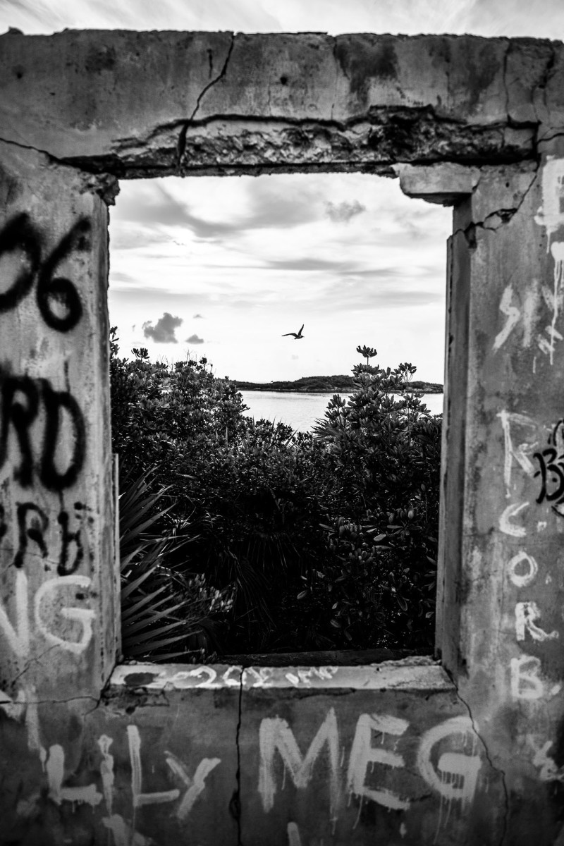Allan's Cay still boasts the ruins of a concrete structure—crumbling and graffiti-ridden, yet beautiful in its own decrepit way.