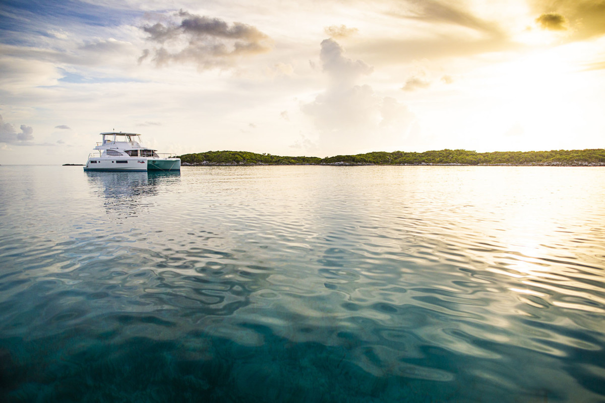 Our Moorings 51, The King's Crown, anchored in an otherwise empty Allan's Cay.